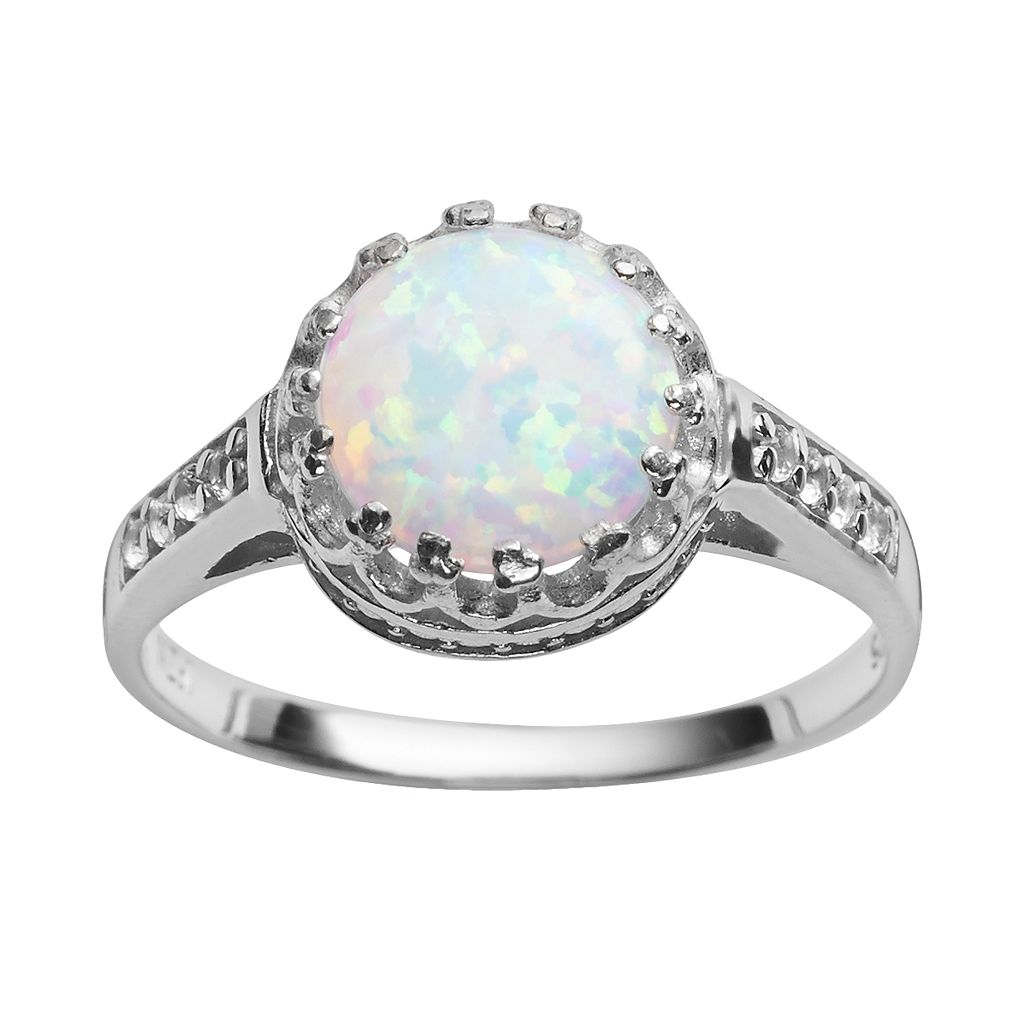 Sterling Silver Lab-Created Opal & Lab-Created White Sapphire Crown Ring