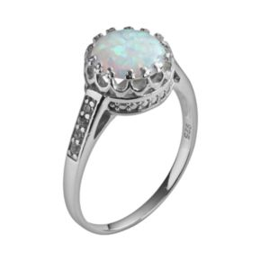 Sterling Silver Lab-Created Opal and Lab-Created White Sapphire Crown Ring