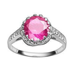 Sterling Silver Lab-Created Pink Sapphire & Lab-Created White Sapphire Crown Ring