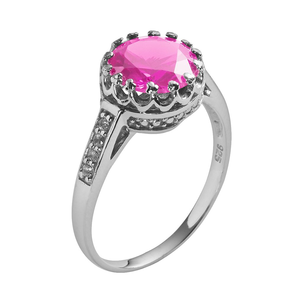 Sterling Silver Lab-Created Pink Sapphire and Lab-Created White Sapphire Crown Ring