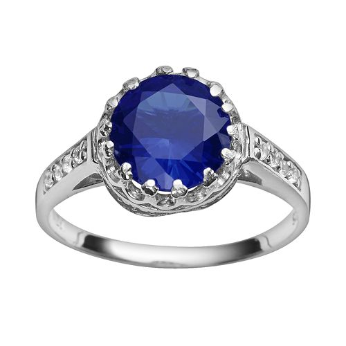 Sterling Silver Lab-Created Sapphire & Lab-Created White Sapphire Crown Ring