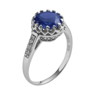 Sterling Silver Lab-Created Sapphire and Lab-Created White Sapphire Crown Ring