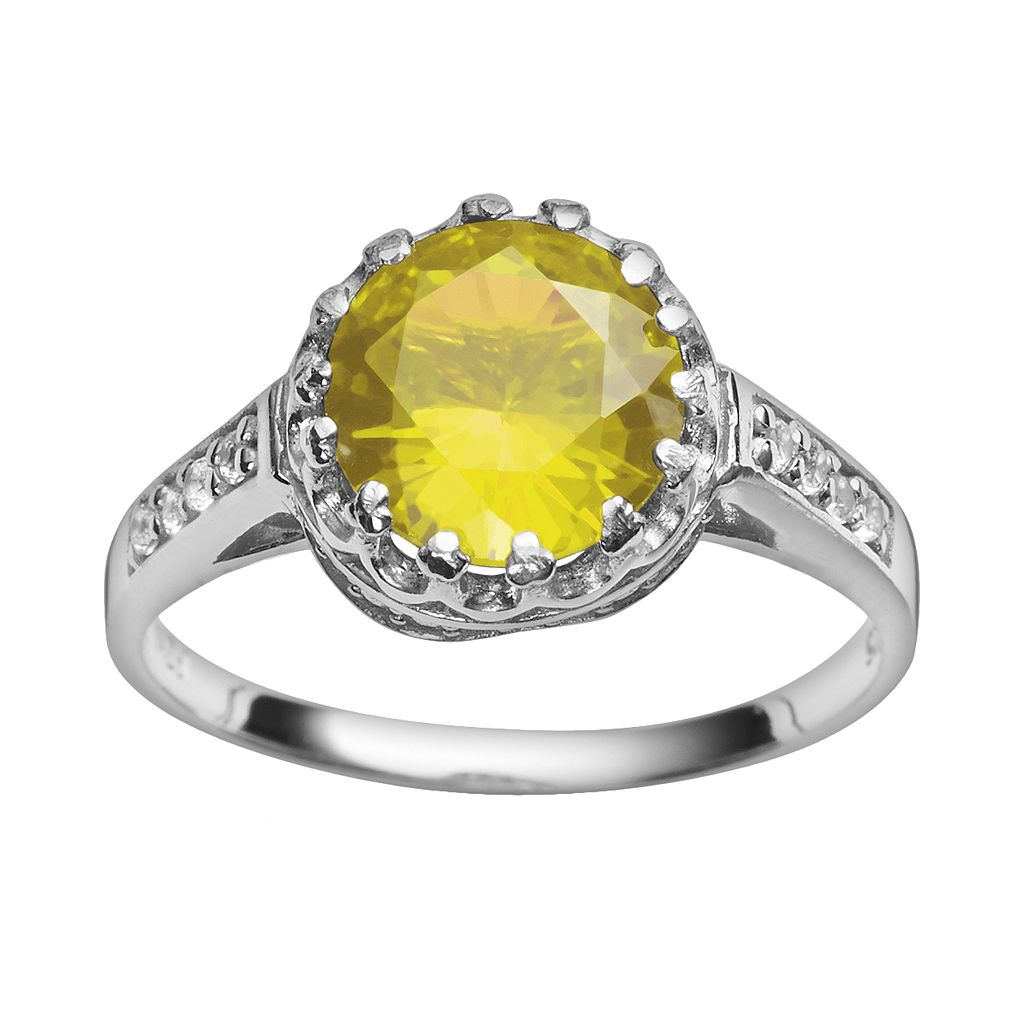 Sterling Silver Citrine & Lab-Created White Sapphire Crown Ring