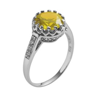 Sterling Silver Citrine and Lab-Created White Sapphire Crown Ring
