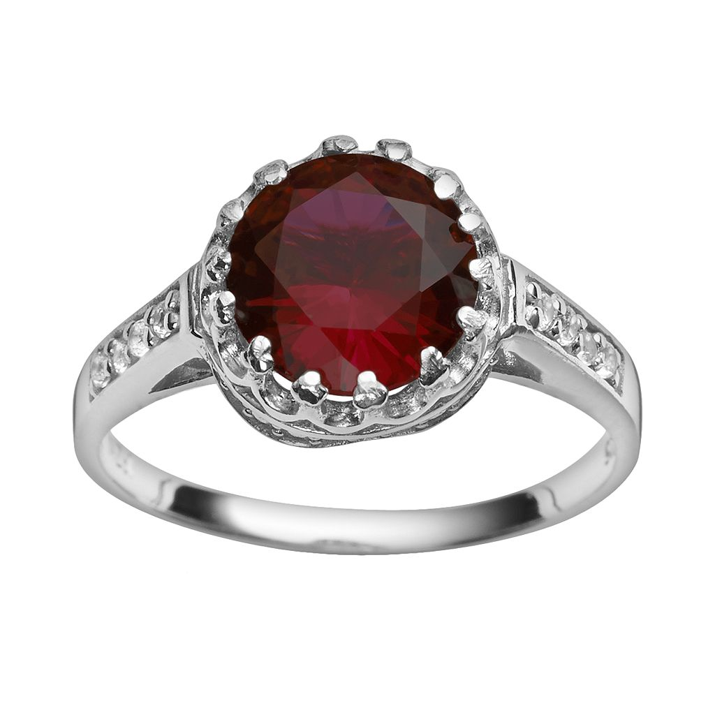 Sterling Silver Garnet & Lab-Created White Sapphire Crown Ring
