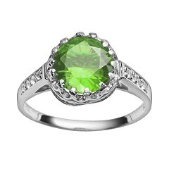 Sterling Silver Peridot & Lab-Created White Sapphire Crown Ring