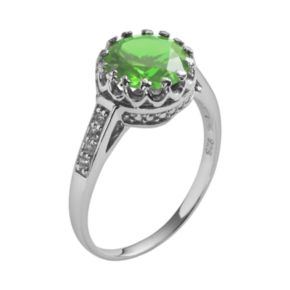 Sterling Silver Peridot and Lab-Created White Sapphire Crown Ring