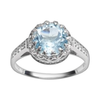 Sterling Silver Sky Blue Topaz and Lab-Created White Sapphire Crown Ring