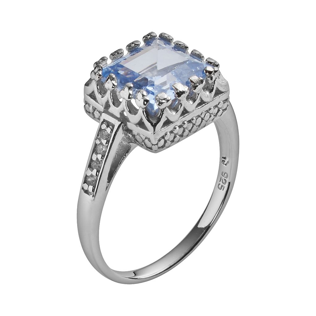 Sterling Silver Lab-Created Aquamarine and Lab-Created White Sapphire Crown Ring