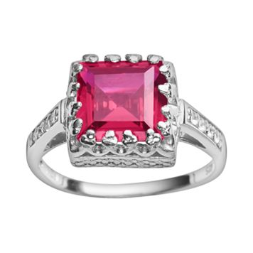 Sterling Silver Lab-Created Ruby & Lab-Created White Sapphire Crown Ring