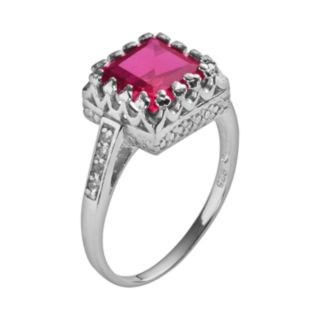 Sterling Silver Lab-Created Ruby and Lab-Created White Sapphire Crown Ring