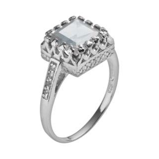 Sterling Silver Lab-Created White Sapphire Crown Ring