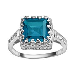 Sterling Silver London Blue Topaz & Lab-Created White Sapphire Crown Ring