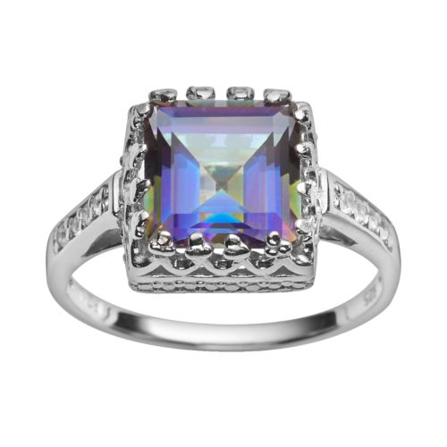 Sterling Silver Rainbow Blue Quartz and Lab-Created White Sapphire Crown Ring