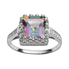 Sterling Silver Rainbow Quartz & Lab-Created White Sapphire Crown Ring