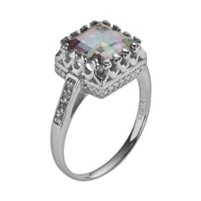 Sterling Silver Rainbow Quartz and Lab-Created White Sapphire Crown Ring