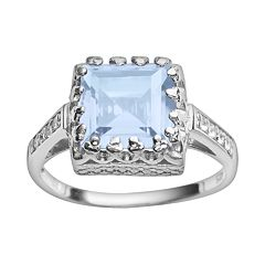 Sterling Silver Sky Blue Topaz & Lab-Created White Sapphire Crown Ring