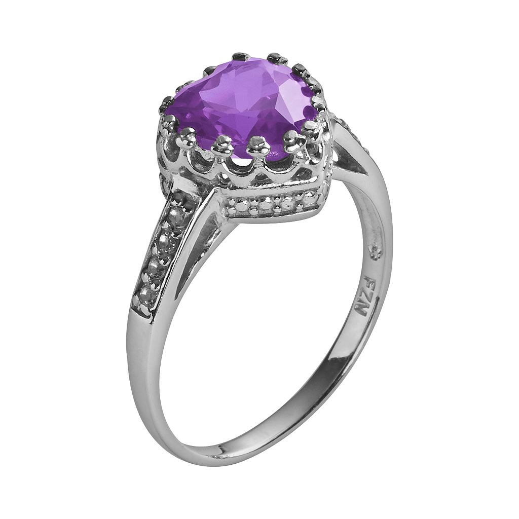Sterling Silver Amethyst and Lab-Created White Sapphire Heart Crown Ring