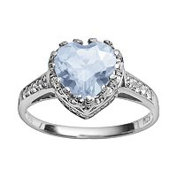 Sterling Silver Lab-Created Aquamarine & Lab-Created White Sapphire Heart Crown Ring