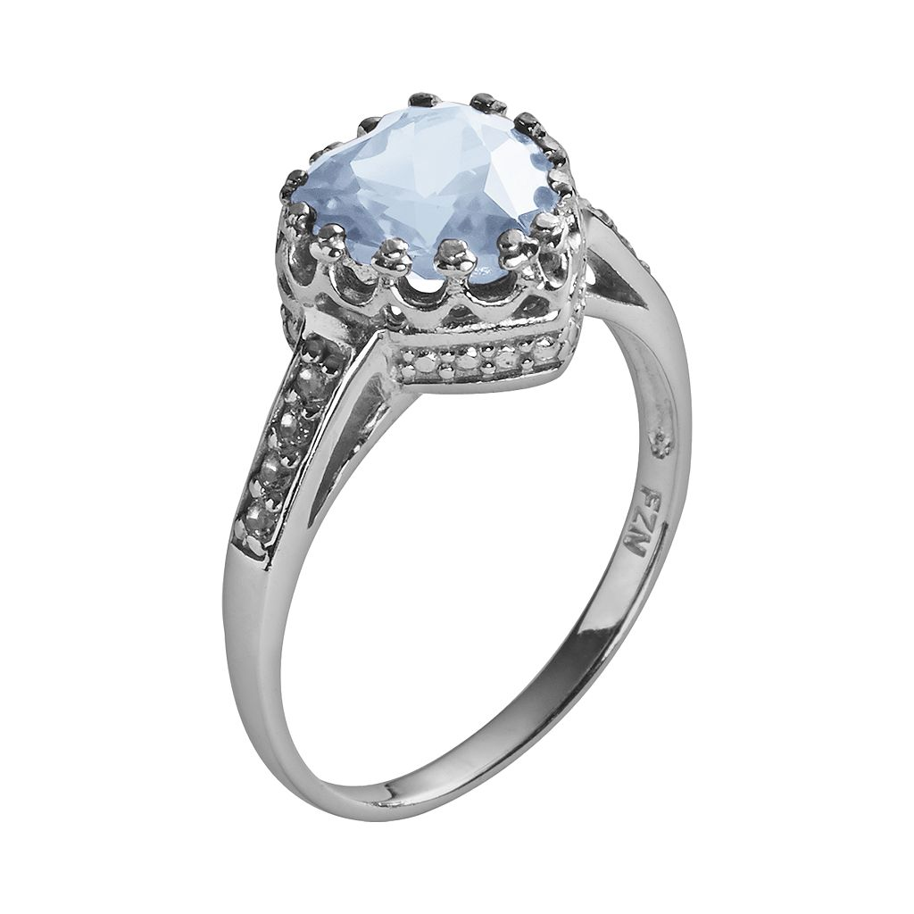 Sterling Silver Lab-Created Aquamarine and Lab-Created White Sapphire Heart Crown Ring