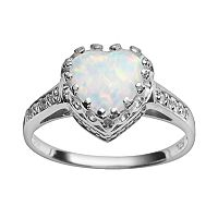 Sterling Silver Lab-Created Opal & Lab-Created White Sapphire Heart Crown Ring