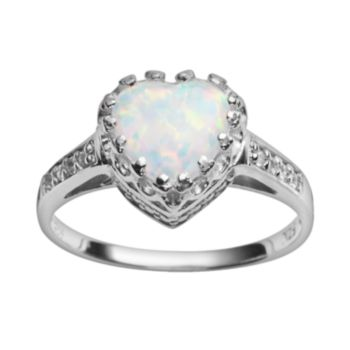 Sterling Silver Lab-Created Opal and Lab-Created White Sapphire Heart Crown Ring