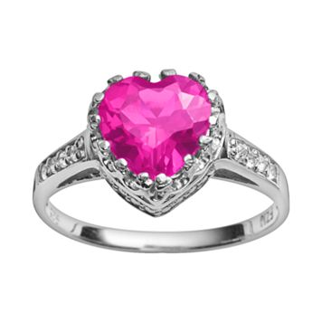 Sterling Silver Lab-Created Pink Sapphire & Lab-Created White Sapphire Heart Crown Ring