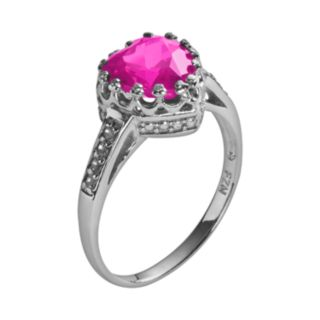 Sterling Silver Lab-Created Pink Sapphire and Lab-Created White Sapphire Heart Crown Ring
