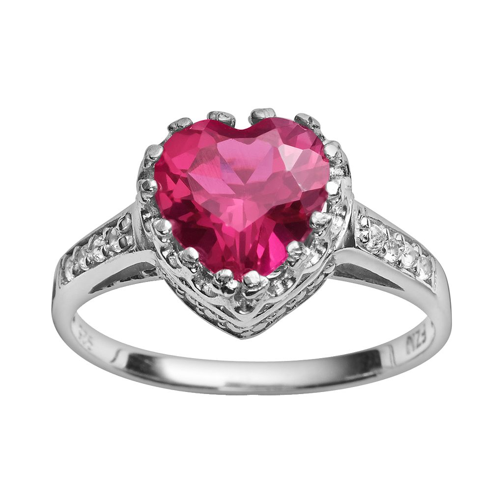 Sterling Silver Lab-Created Ruby & Lab-Created White Sapphire Heart Crown Ring