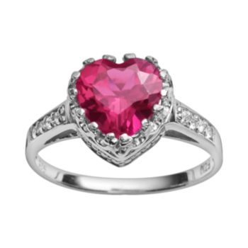 Sterling Silver Lab-Created Ruby and Lab-Created White Sapphire Heart Crown Ring