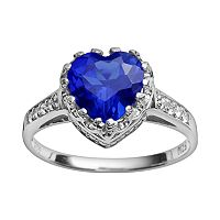 Sterling Silver Lab-Created Sapphire & Lab-Created White Sapphire Heart Crown Ring