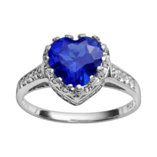 Sterling Silver Lab-Created Sapphire and Lab-Created White Sapphire Heart Crown Ring
