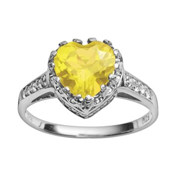 Sterling Silver Citrine & Lab-Created White Sapphire Heart Crown Ring