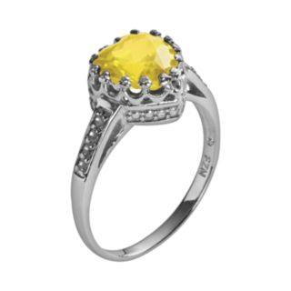 Sterling Silver Citrine and Lab-Created White Sapphire Heart Crown Ring