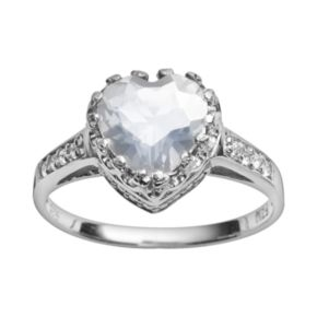 Sterling Silver Lab-Created White Sapphire Heart Crown Ring