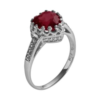 Sterling Silver Garnet and Lab-Created White Sapphire Heart Crown Ring