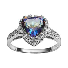Sterling Silver Rainbow Blue Quartz & Lab-Created White Sapphire Heart Crown Ring