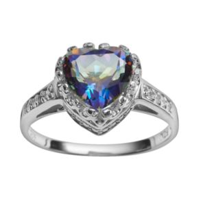 Sterling Silver Rainbow Blue Quartz and Lab-Created White Sapphire Heart Crown Ring