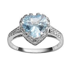 Sterling Silver Sky Blue Topaz & Lab-Created White Sapphire Heart Crown Ring