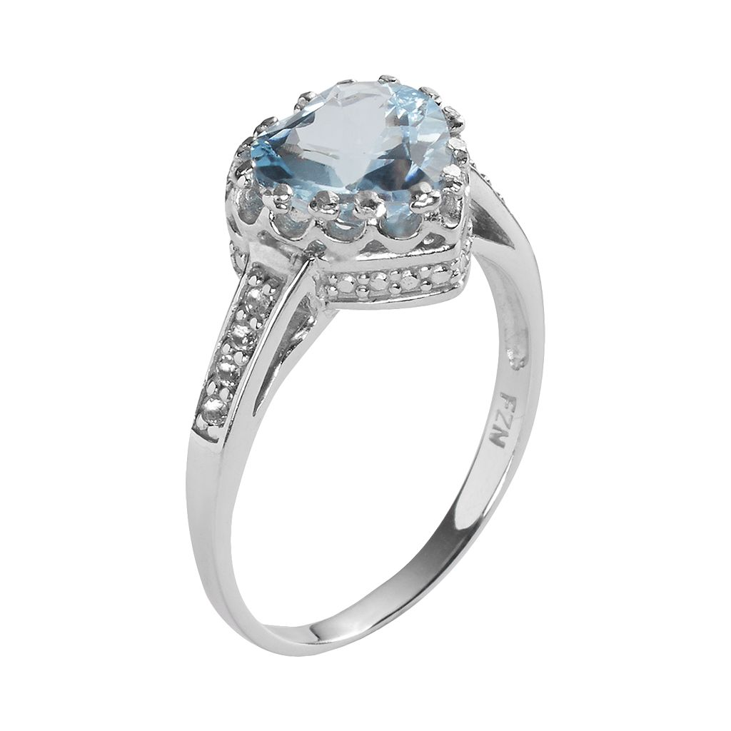 Sterling Silver Sky Blue Topaz and Lab-Created White Sapphire Heart Crown Ring