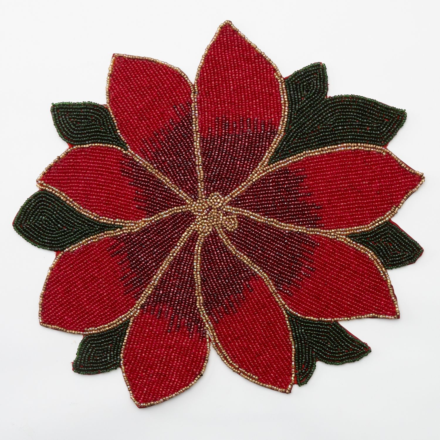 Food Network Christmas Poinsettia Beaded Placemat 22 99