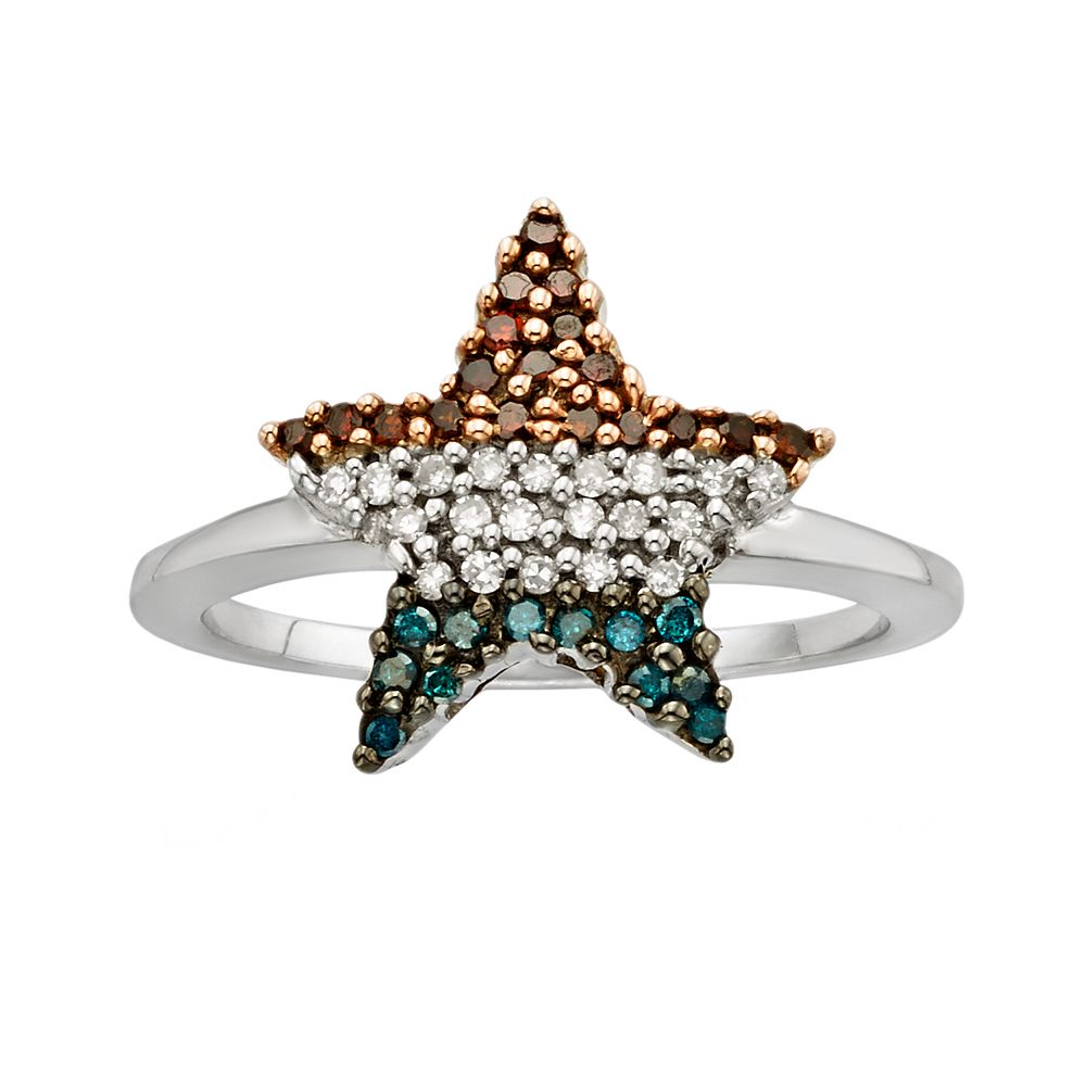 Sterling Silver 1/4-ct. T.W. Red, White & Blue Diamond American Flag Star Ring