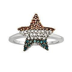 Sterling Silver 1/4 ctT.W. Red, White & Blue Diamond American Flag Star Ring