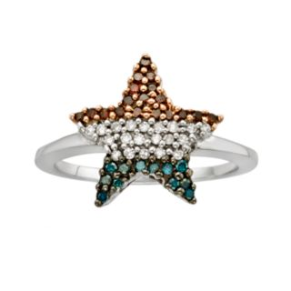 Sterling Silver 1/4-ct. T.W. Red, White and Blue Diamond American Flag Star Ring