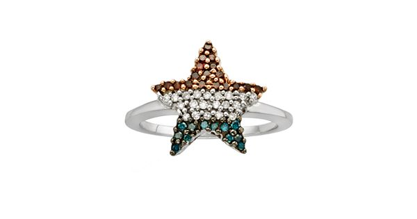 Diamond Rings For Sale Kohls: Sterling Silver 1/4-ct. T.W. Red, White And Blue Diamond