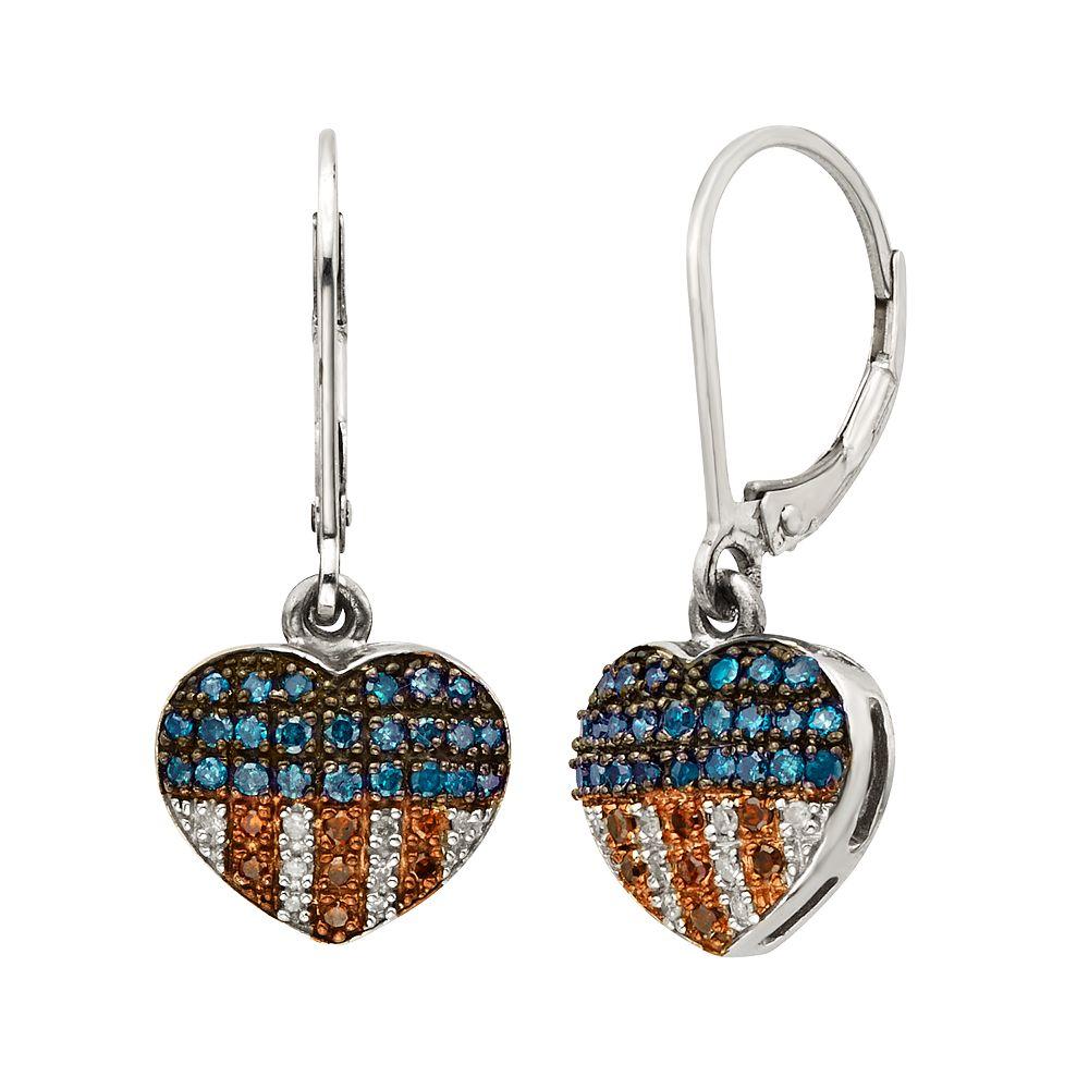 Sterling Silver 1 4 Ct T W Red White Blue Diamond American Flag Heart Drop Earrings