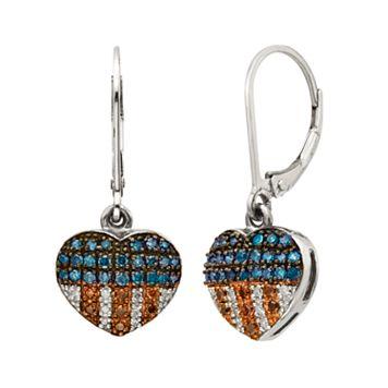 Sterling Silver 1/4-ct. T.W. Red, White & Blue Diamond American Flag Heart Drop Earrings