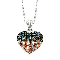 Sterling Silver 1/4-ct. T.W. Red, White & Blue Diamond American Flag Heart Pendant