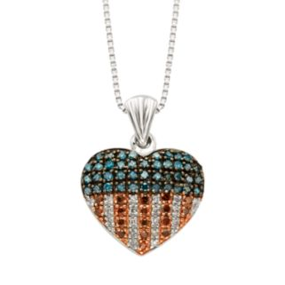 Sterling Silver 1/4-ct. T.W. Red, White and Blue Diamond American Flag Heart Pendant