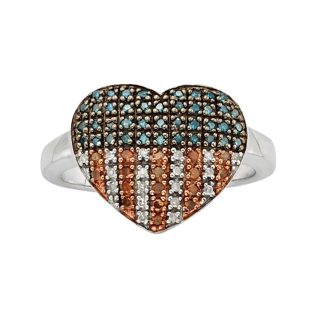 Sterling Silver 1/4-ct. T.W. Red, White & Blue Diamond American Flag Heart Ring